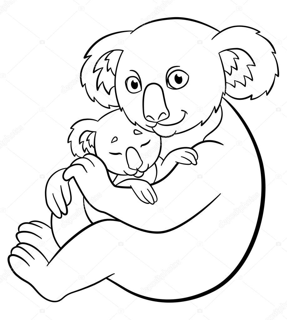 Boyama Sayfaları Onun Sevimli Uyuyan Bebek Ile Anne Koala Stok