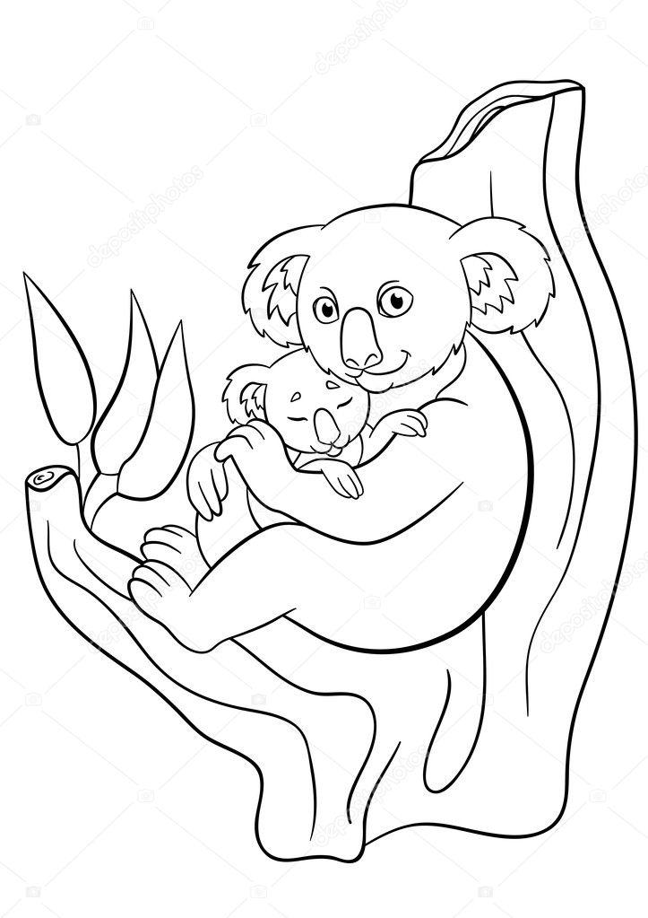 Malvorlagen. Mit ihrem Baby süß schlafenden Mutter koala ...