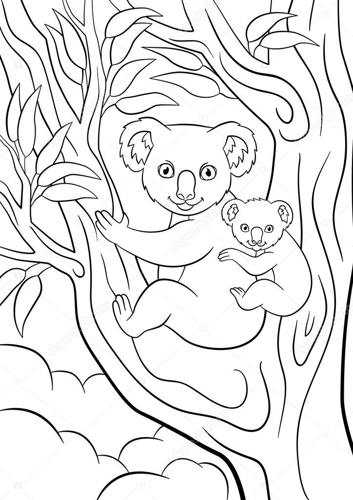Dibujos para colorear. Koala madre con su pequeño bebé lindo ...