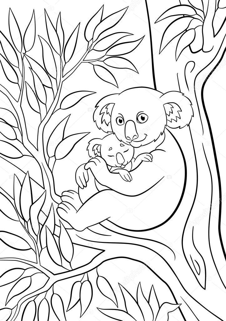 Boyama Sayfaları Onun Küçük Sevimli Uyuyan Bebek Ile Anne Koala