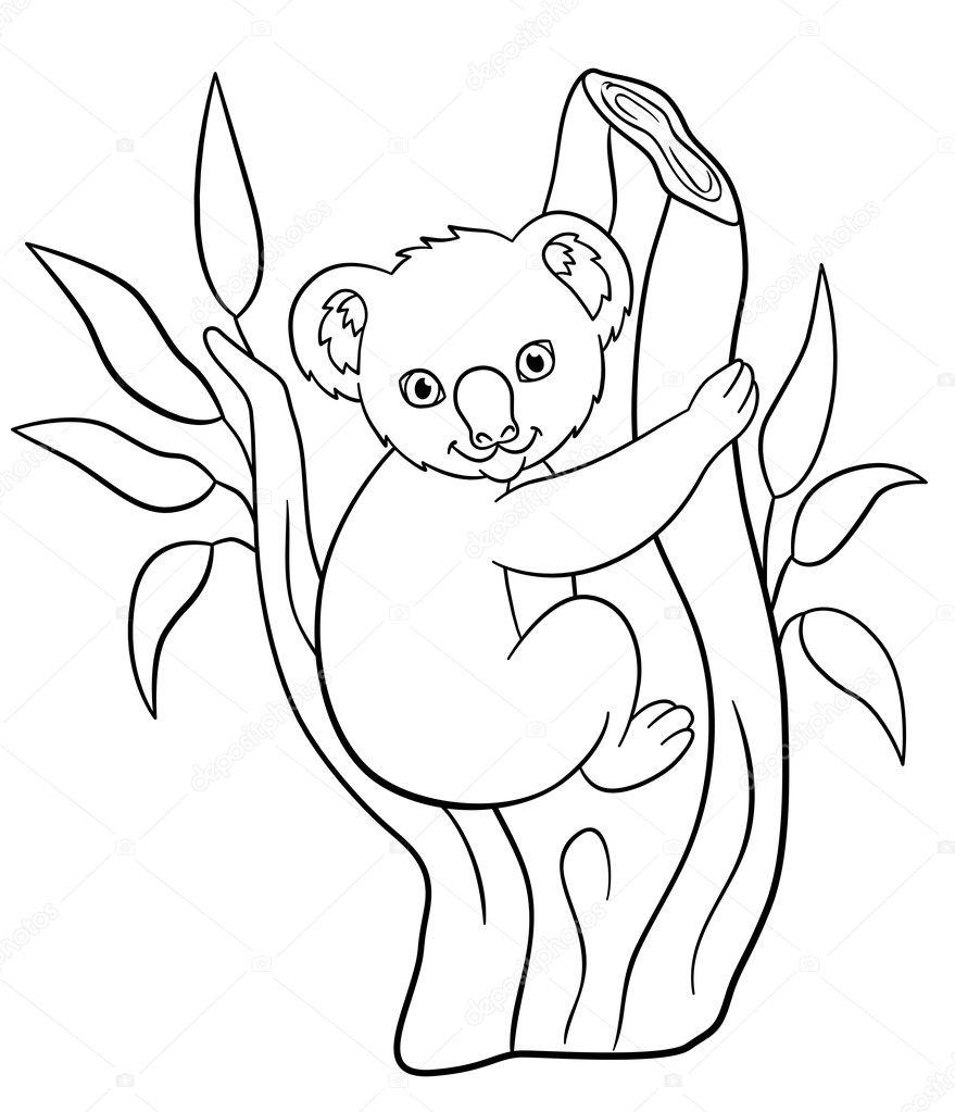 Dibujos para colorear. Sonrisas de koala de lindo bebé poco ...