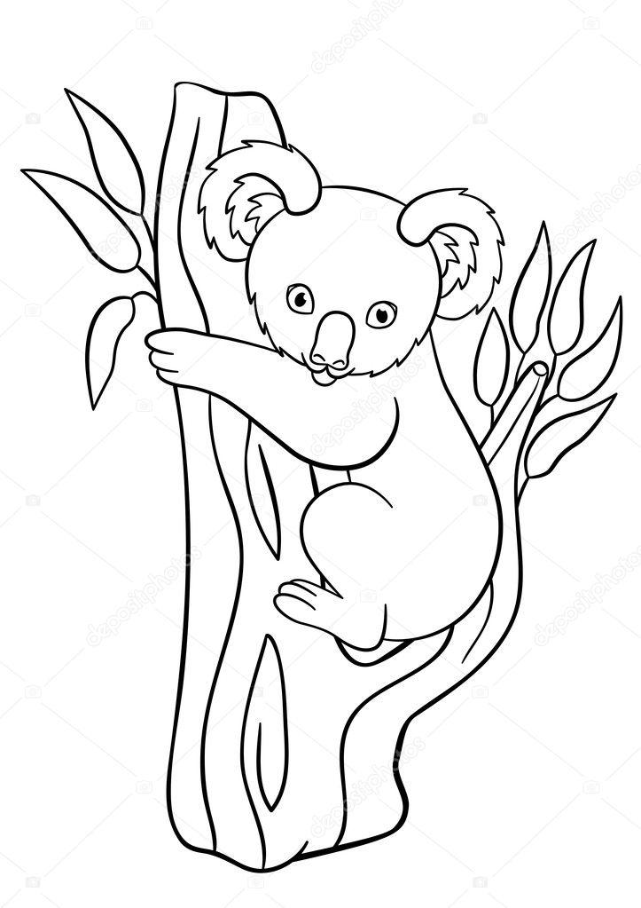 kleurplaten kleine schattige baby koala glimlacht