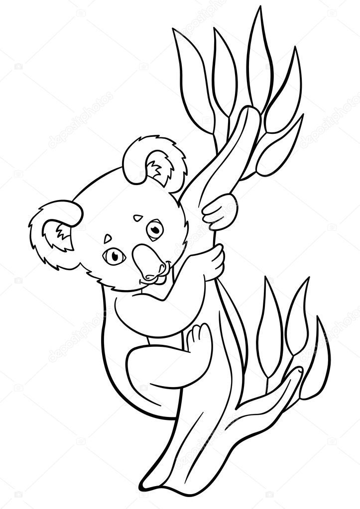 Kleurplaten Baby.Kleurplaten Kleine Schattige Baby Koala Glimlacht Stockvector