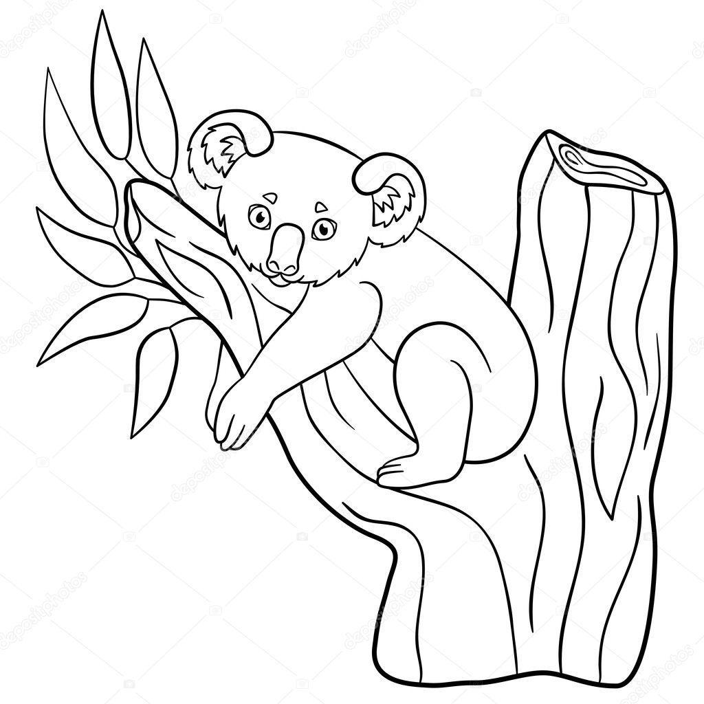 Dibujos para colorear. Sonrisas de koala de lindo bebé poco — Vector ...