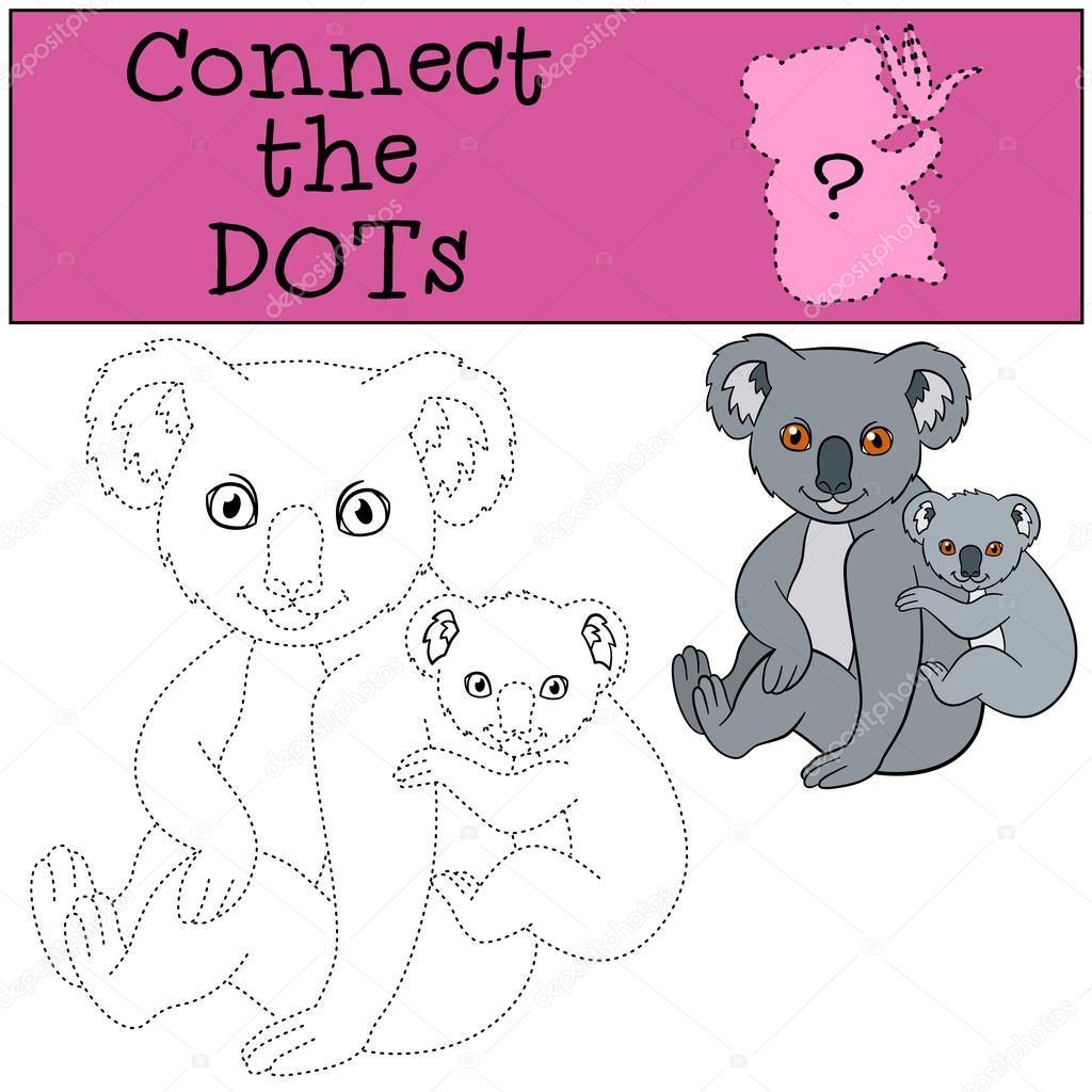 Lernspiel: Verbinde die Punkte. Mutter Koala mit ihrem baby ...