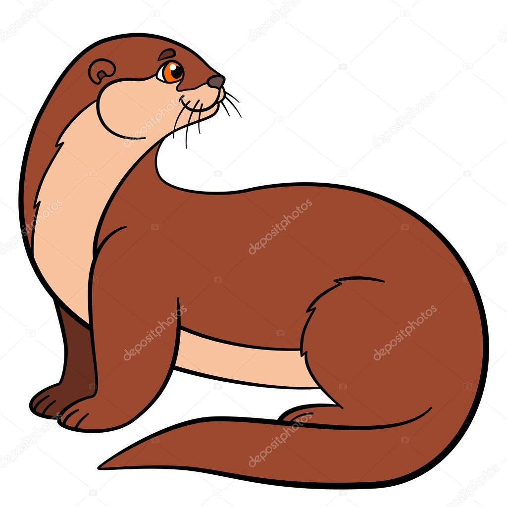 cartoon animals little cute otter smiles stock vector otter clip art image otter clip art outline