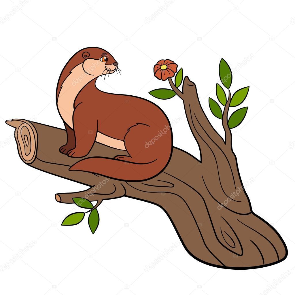 Illustration vectorielle d'un petit écureuil mignon ...