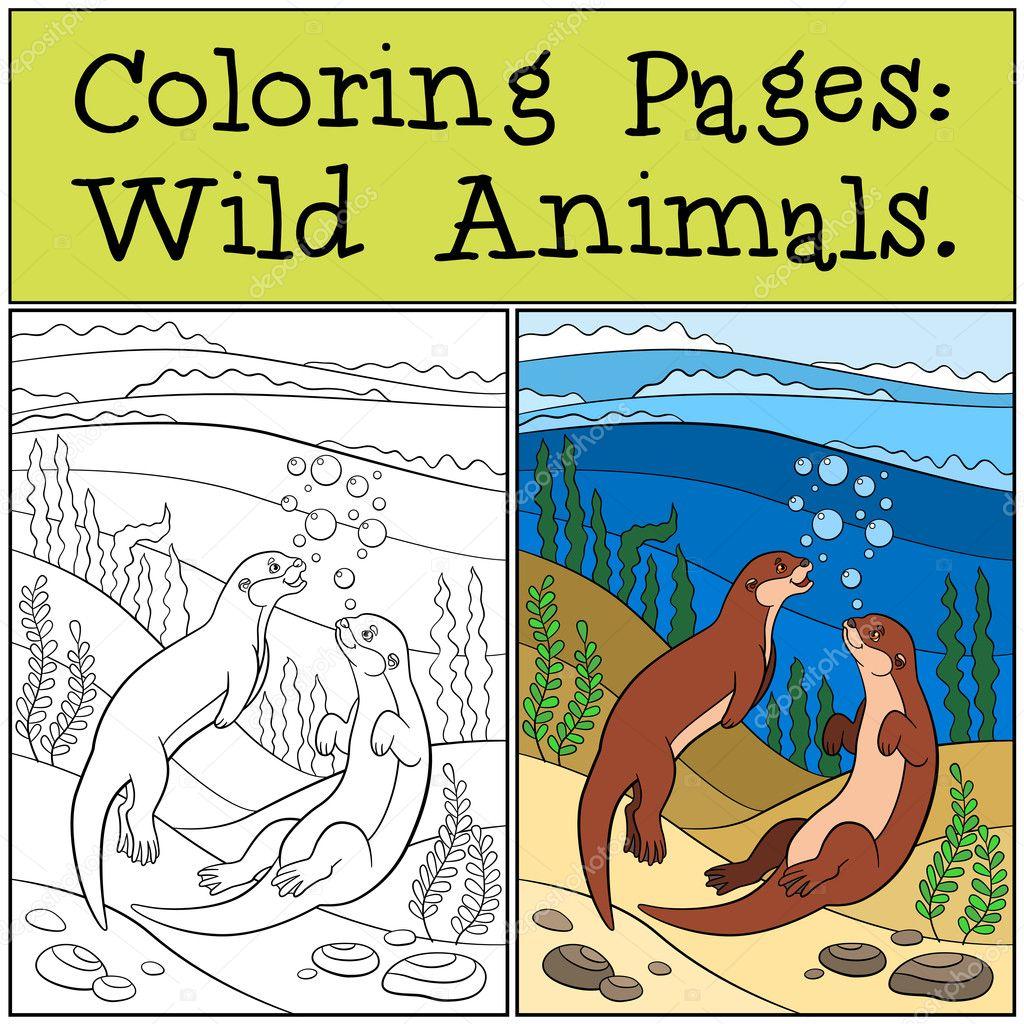 Malvorlagen: Wilde Tiere. Zwei kleine süße Otter schwimmen ...