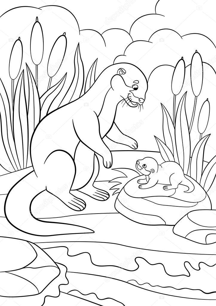 Dibujos para colorear. Nutria madre mira a su bebé lindo — Vector de ...