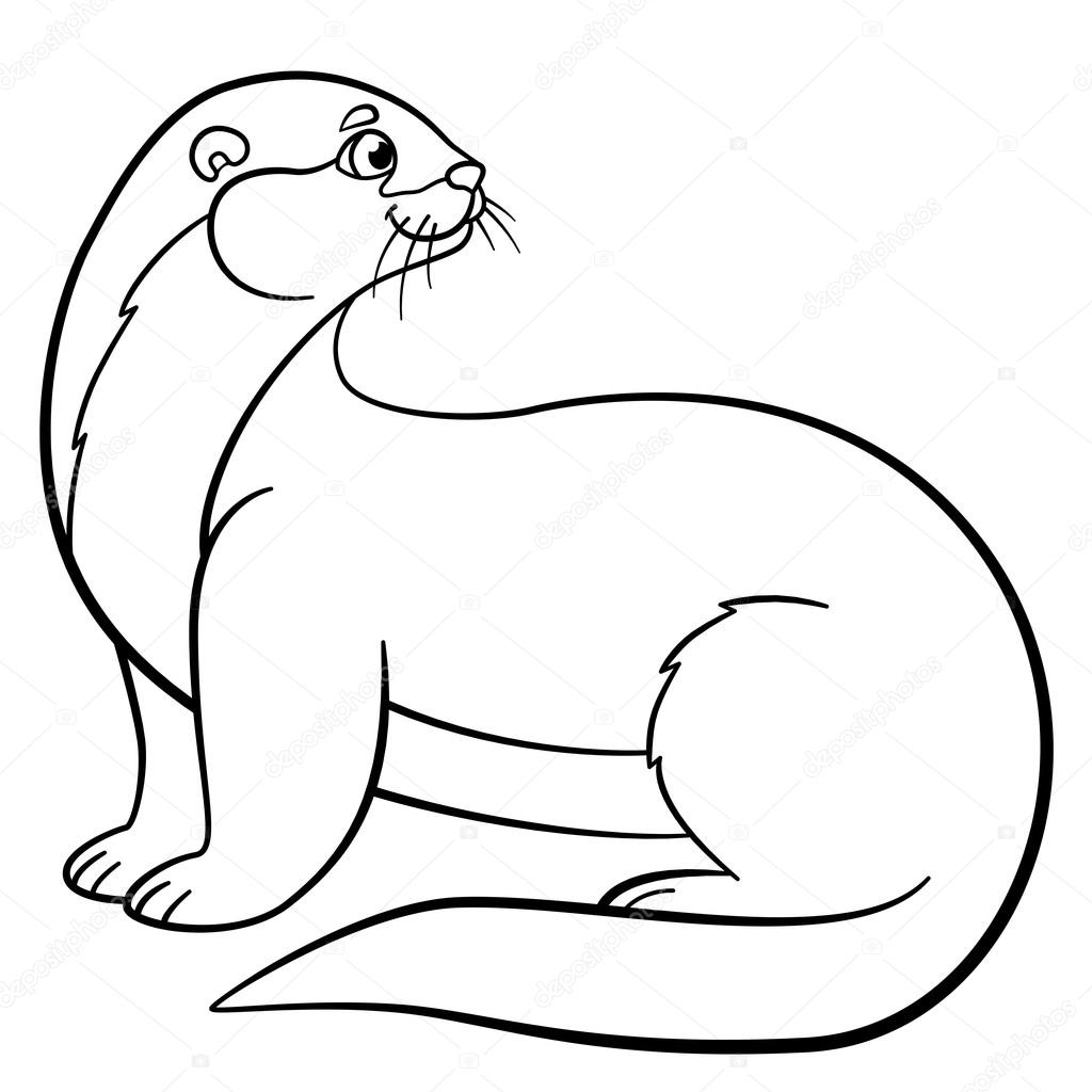 Coloring Pages. Little Cute Otter Stands And Smiles. U2014 Vector By Ya Mayka
