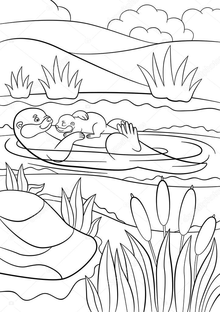 Dibujos para colorear. Nada de nutria madre con su bebé — Vector de ...
