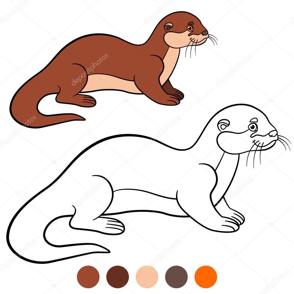 Kleurplaat Kleine Schattige Otter Glimlacht Stockvector C Ya