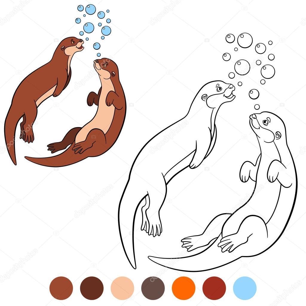 Malvorlagen. Zwei kleine süße Otter schwimmen — Stockvektor © ya ...