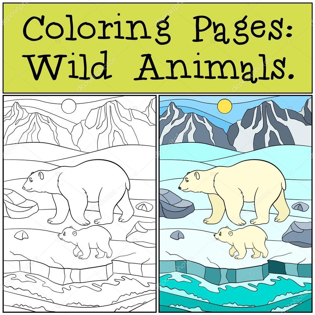 Dibujos para colorear: Animales salvajes. Madre oso polar con su ...