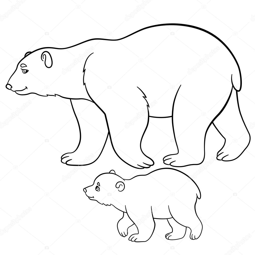 Coloring pages. Mother polar bear walks with her baby. — Stock ...
