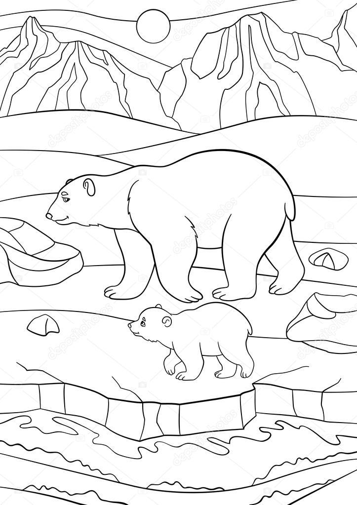Dibujos para colorear. Oso polar madre camina con su bebé — Vector ...