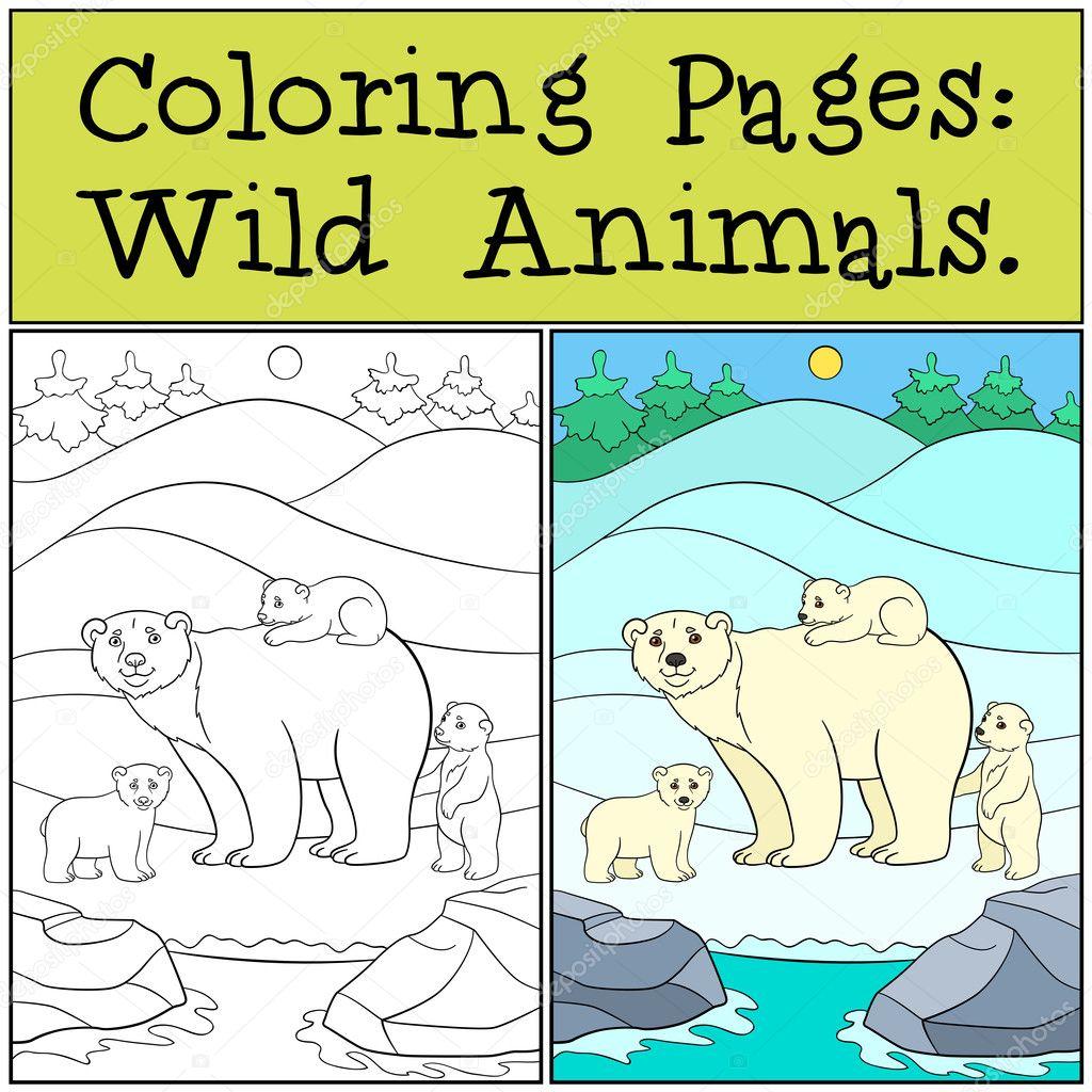 Dibujos para colorear: Animales salvajes. Madre oso polar con sus ...