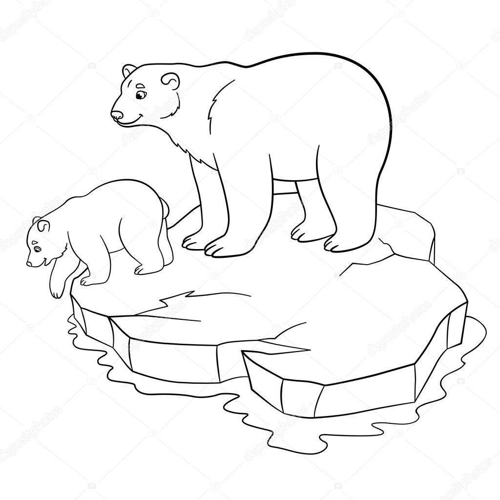 Dibujos para colorear. Madre oso polar con su lindo bebé — Archivo ...