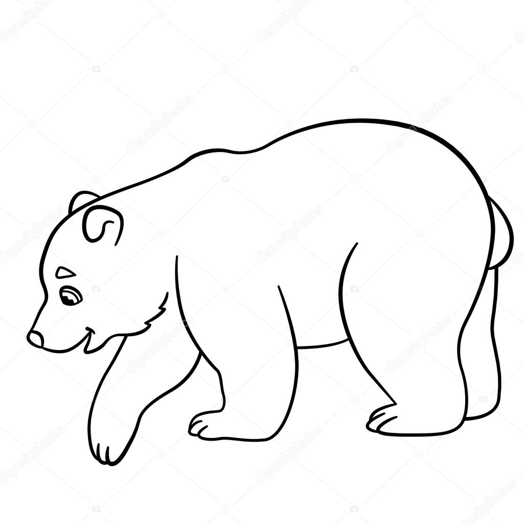 Coloring pages. Little cute baby polar bear. — Stock Vector © ya ...