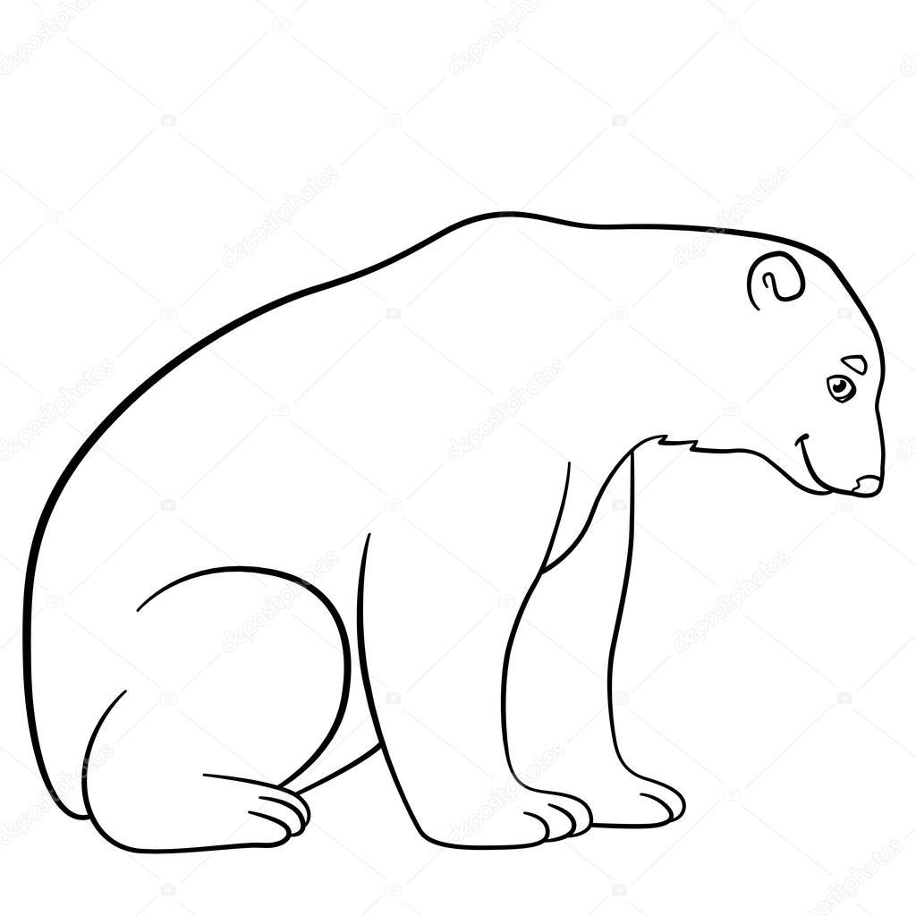 Dibujos para colorear. Lindo oso polar sonrisas — Vector de stock ...