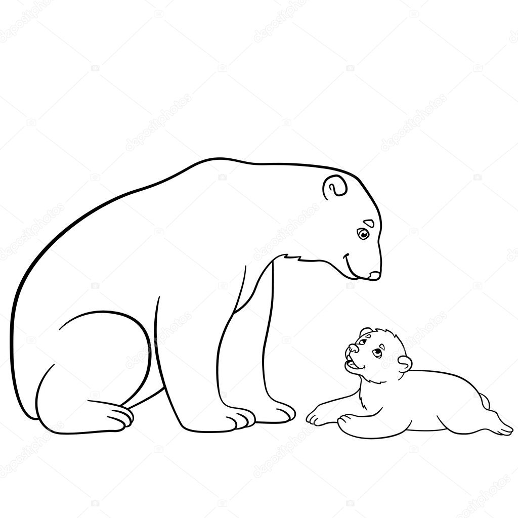 Coloring pages. Mother polar bear with her baby. — Stock Vector © ya ...