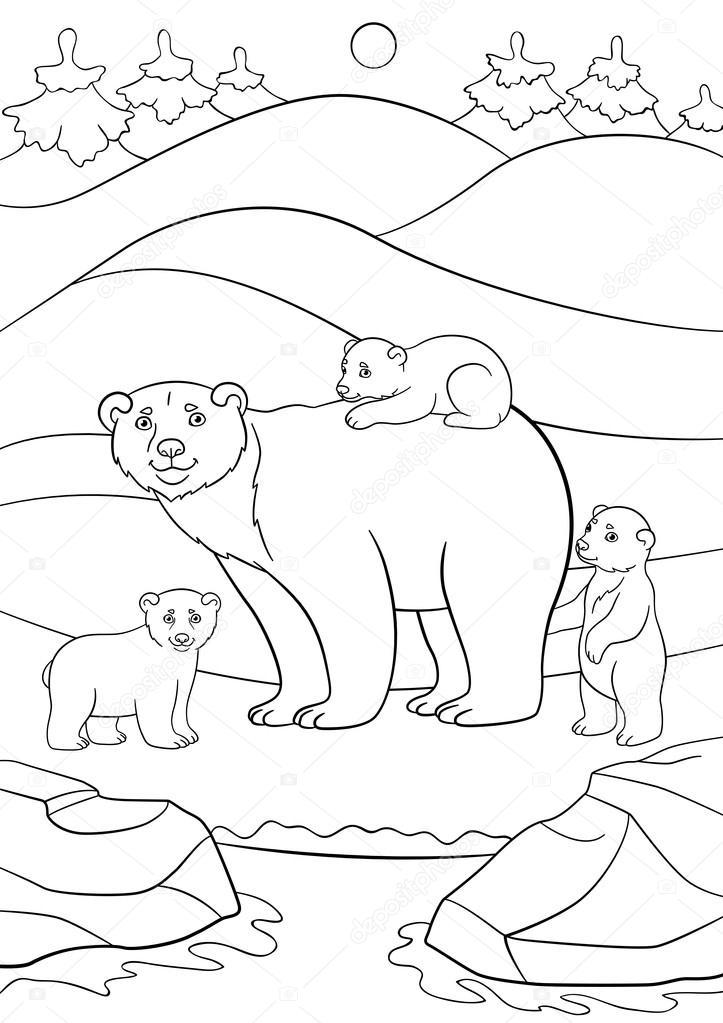 Boyama Sayfaları şirin Bebekleri Ile Anne Kutup Ayısı Stok Vektör