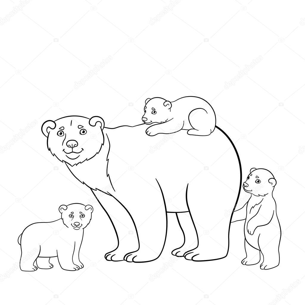 Dibujos para colorear. Madre oso polar con los bebés hercute ...