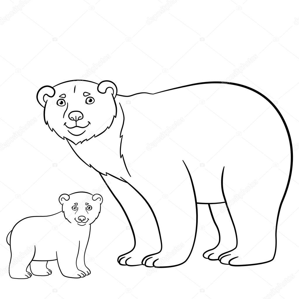 Dibujos para colorear. Madre oso con su lindo bebé — Vector de stock ...