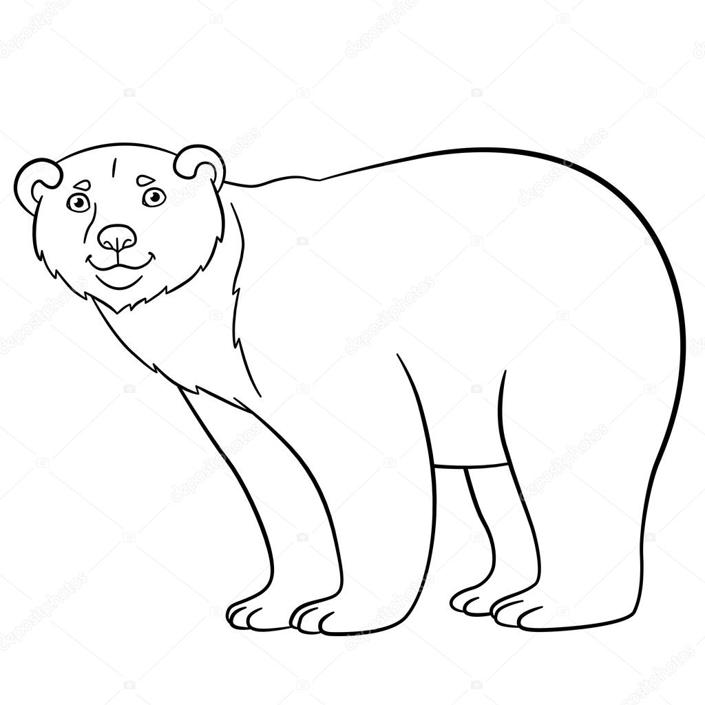 Coloring pages. Cute polar bear smiles. — Stock Vector © ya-mayka ...