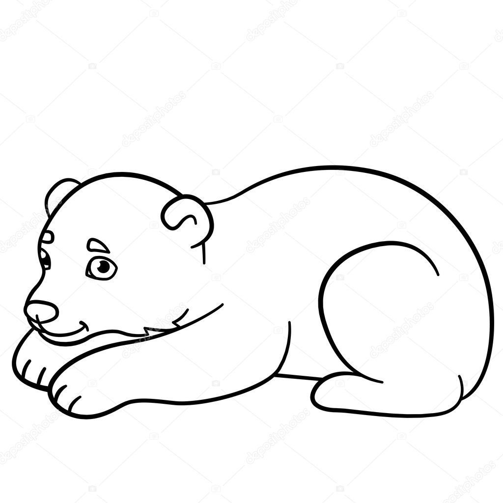 Kleurplaten Kleine Schattige Baby Ijsbeer Stockvector Ya Mayka