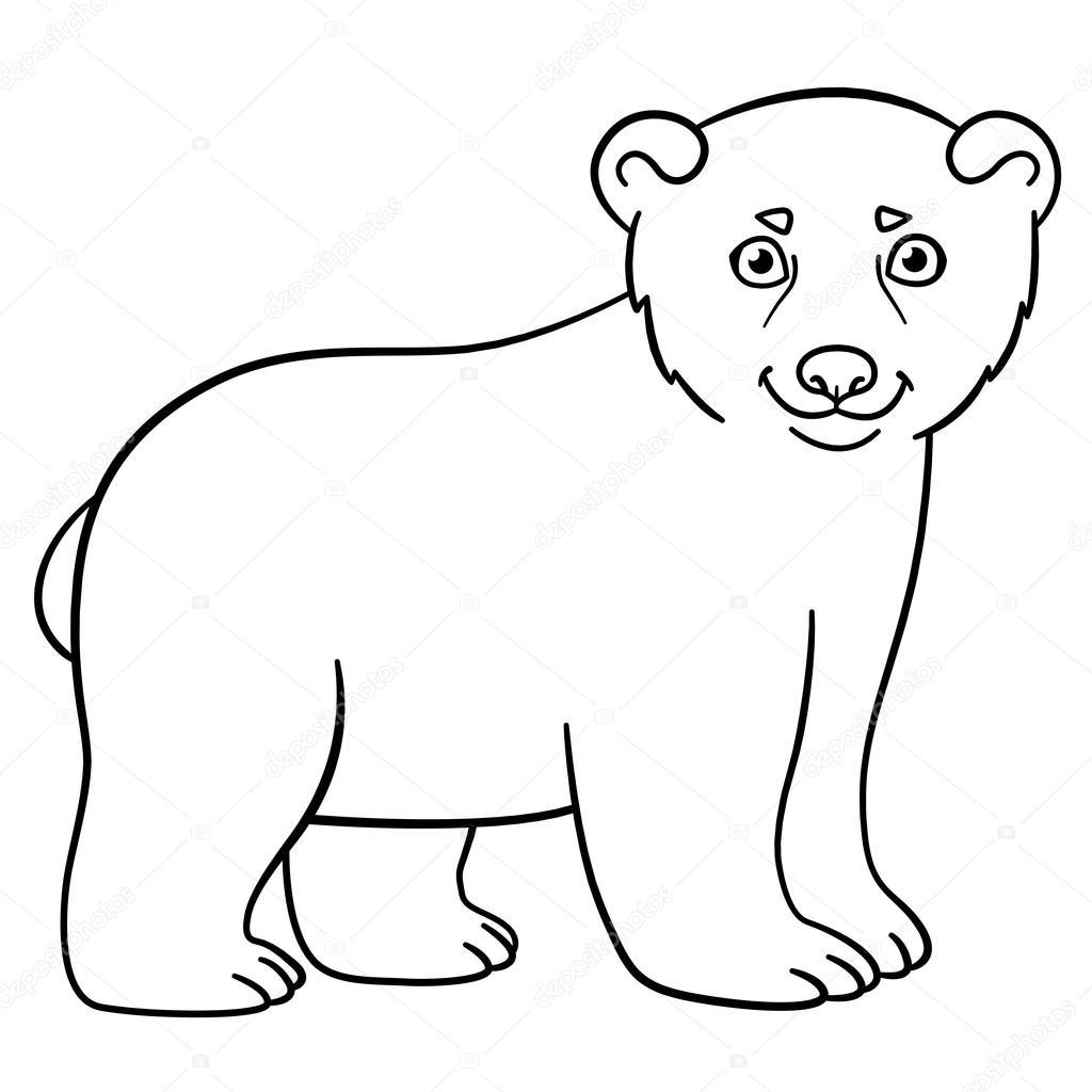 Dibujos para colorear. Lindo bebé polar osito — Vector de stock © ya ...
