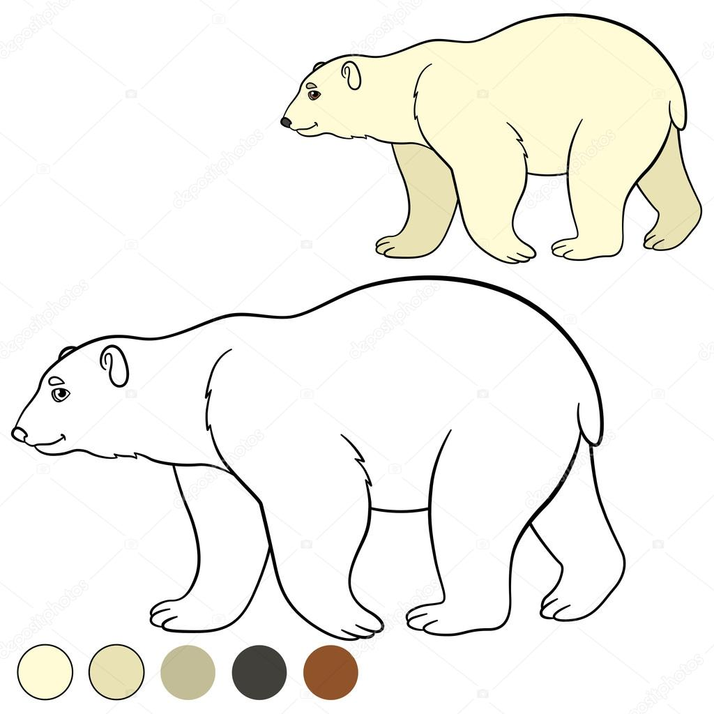 Coloring Page Cute Polar Bear Smiles Stock Vector C Ya Mayka