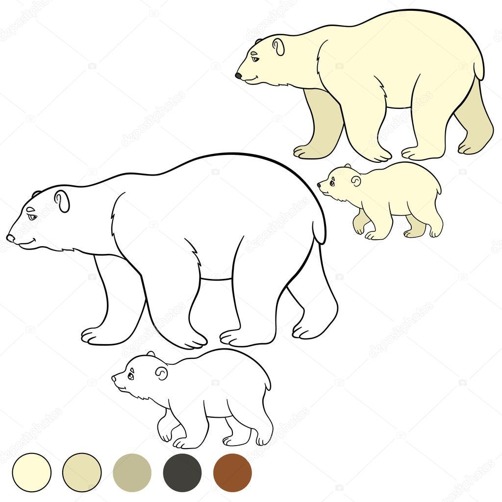 Malvorlagen. Mutter Eisbär mit ihrem niedlichen baby — Stockvektor ...