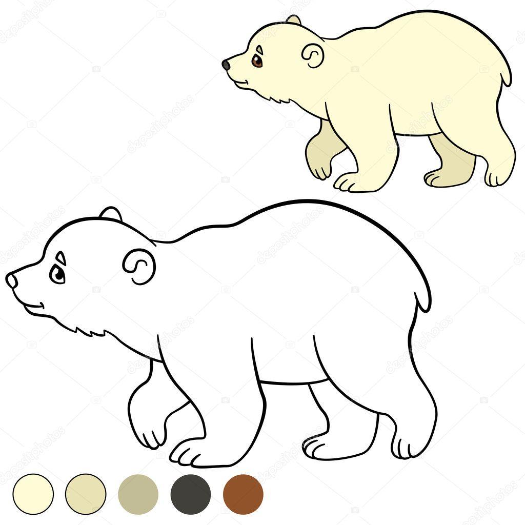 Página para colorear. Sonrisas de oso polar de lindo bebé poco ...