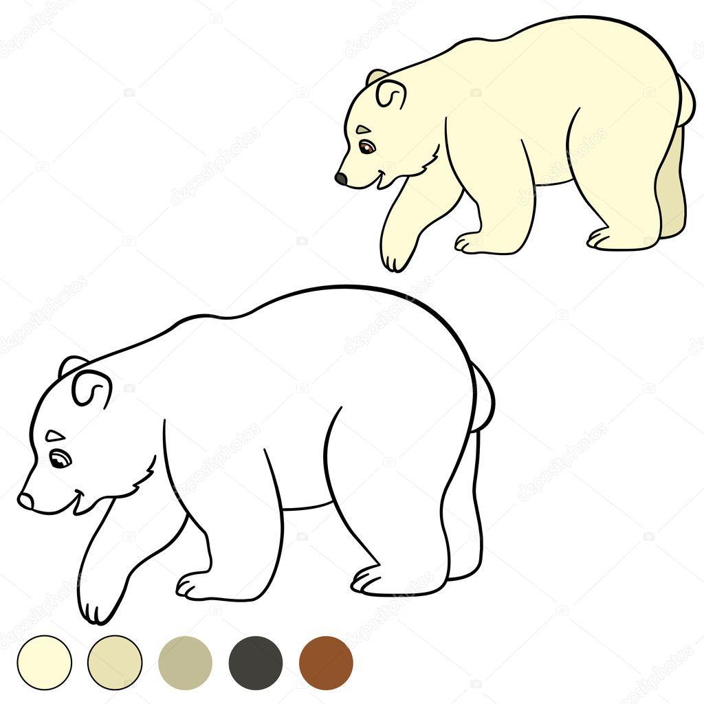 Kleurplaat Kleine Schattige Baby Ijsbeer Glimlacht Stockvector