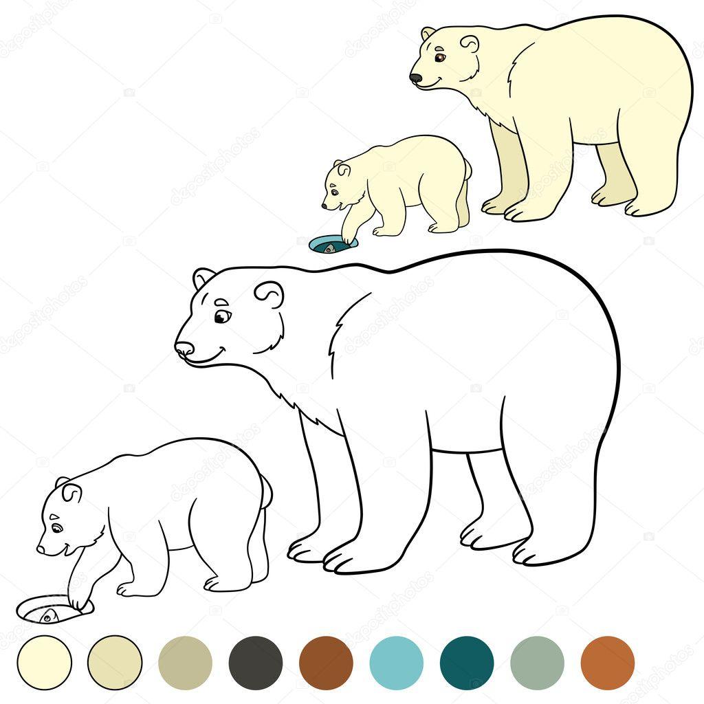 Página para colorear. Madre oso polar con su bebé — Archivo Imágenes ...