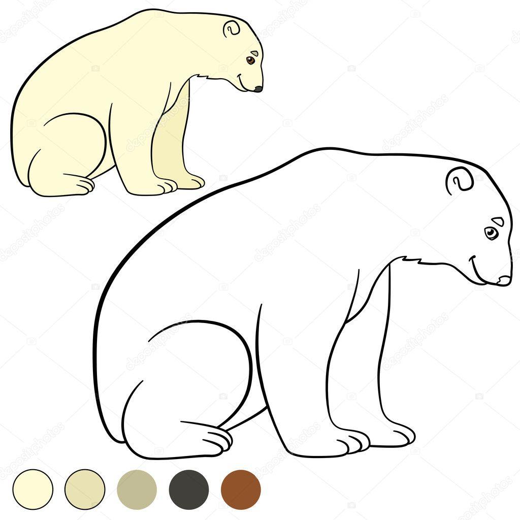 Página para colorear. Lindo oso polar sonrisas — Archivo Imágenes ...