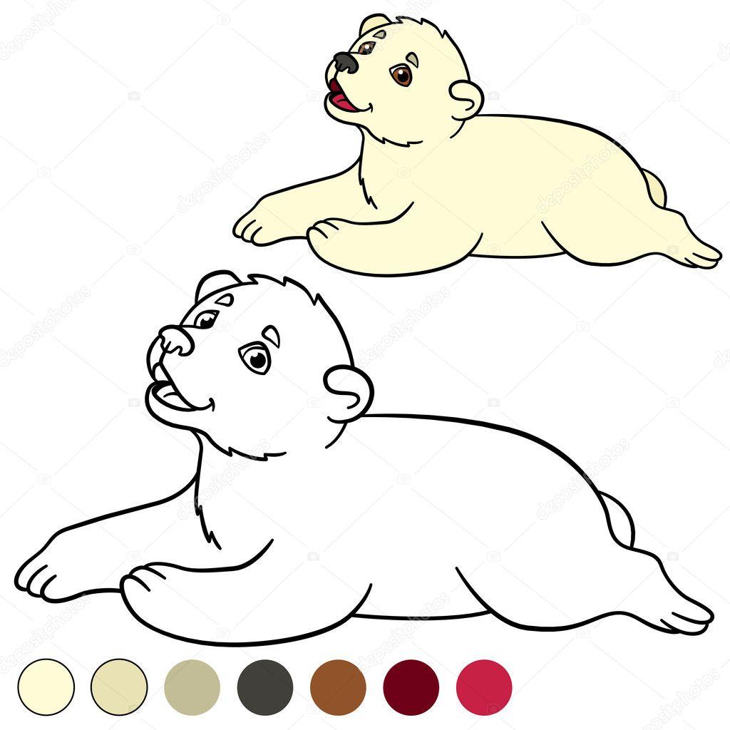 Boyama Sayfası Küçük şirin Bebek Kutup Ayısı Stok Vektör Ya