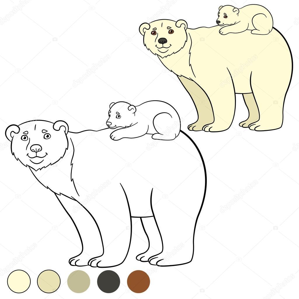 Página para colorear. Madre oso polar con su lindo bebé — Archivo ...