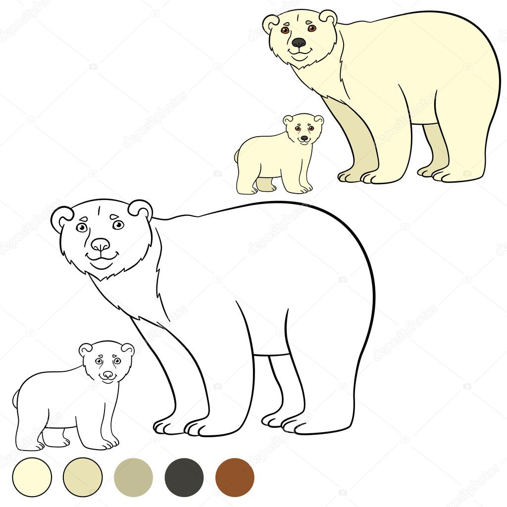 Coloring page. Mother polar bear with her cute baby. — Stock Vector ...