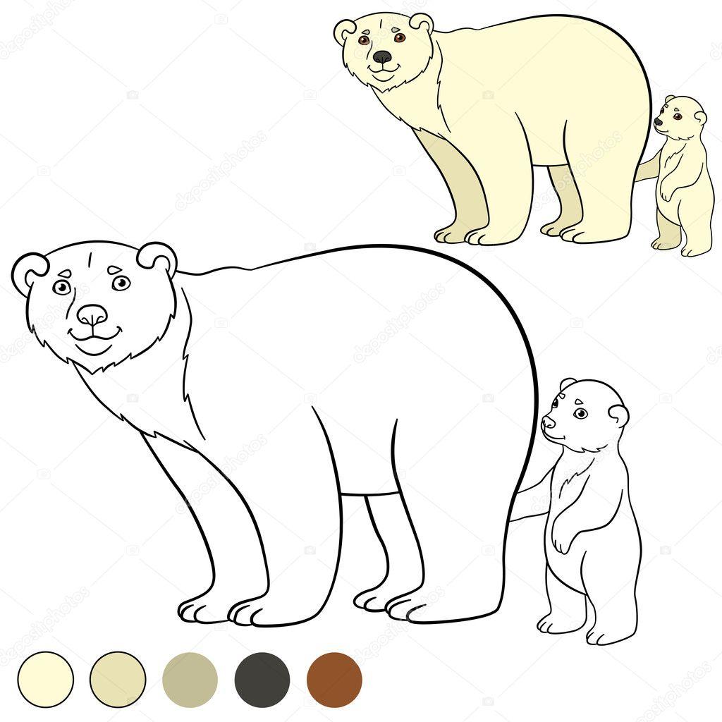 Coloriage Ours Polaire Mère Avec Son Bébé Mignon Image
