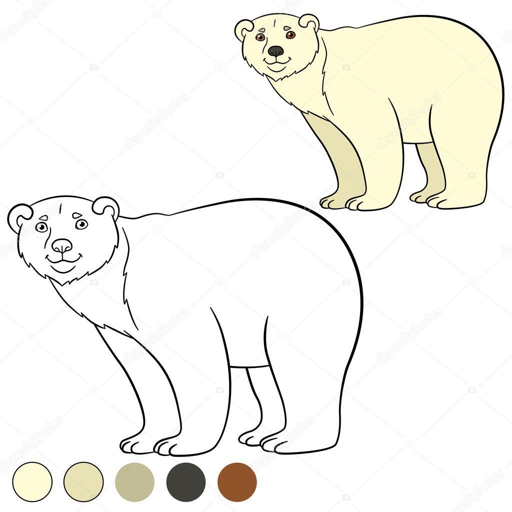 Coloring page. Cute polar bear smiles. — Stock Vector © ya-mayka ...