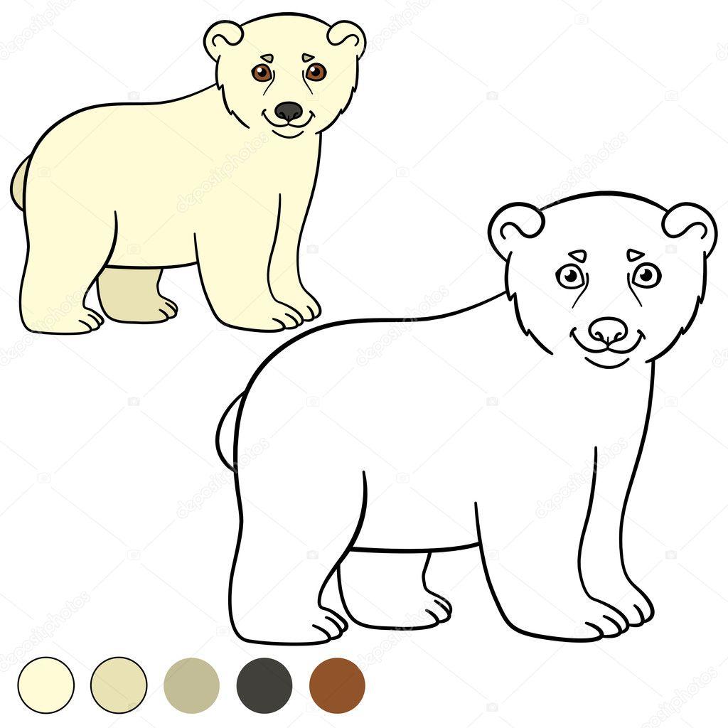 Página para colorear. Lindo bebé polar osito — Archivo Imágenes ...