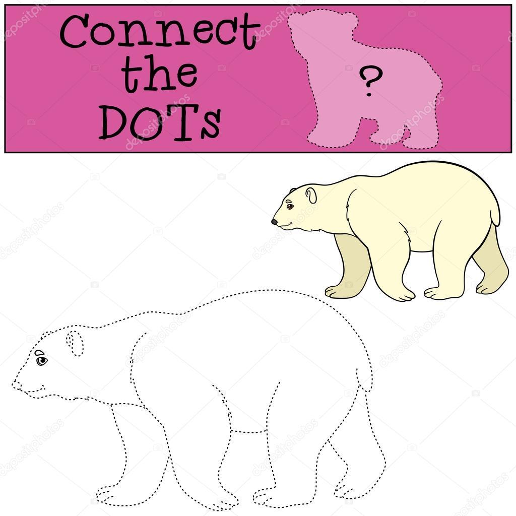 Lernspiel: Verbinde die Punkte. Niedlichen Eisbären Lächeln ...