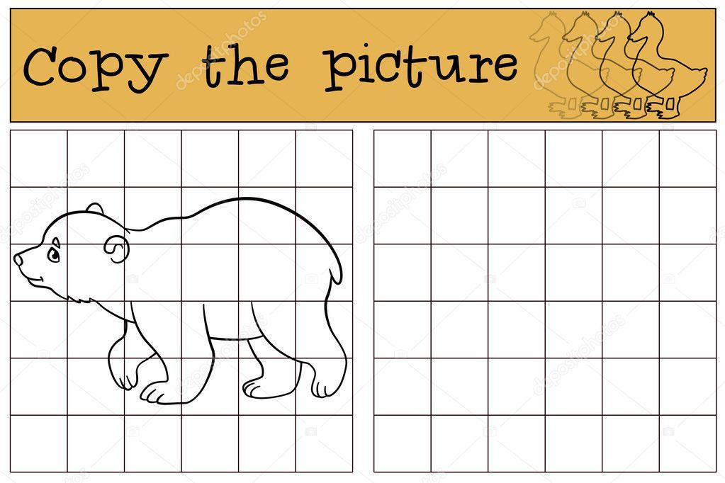 Lernspiel: Kopieren Sie das Bild. Kleine niedliche Baby-Eisbär ...