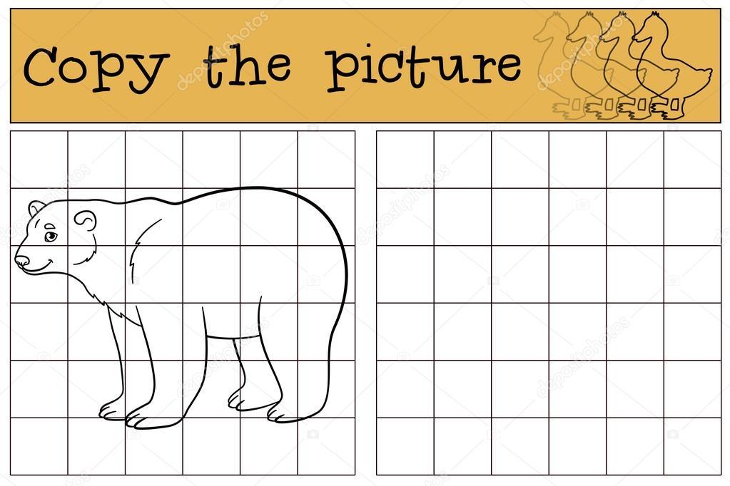 Juego educativo: copiar la imagen. Lindo oso polar sonrisas — Vector ...
