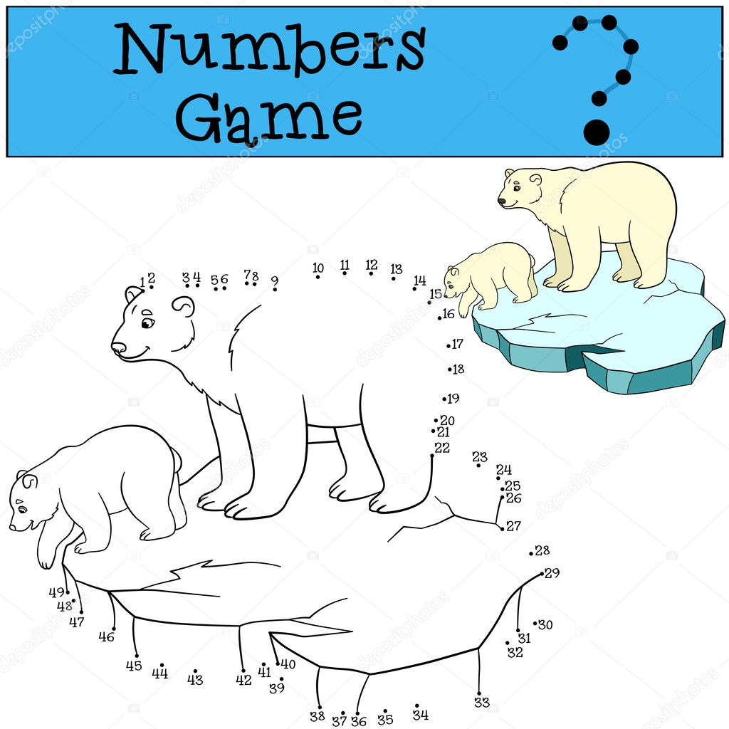 Lernspiel: Spiel mit Zahlen. Mutter Eisbär mit baby — Stockvektor ...
