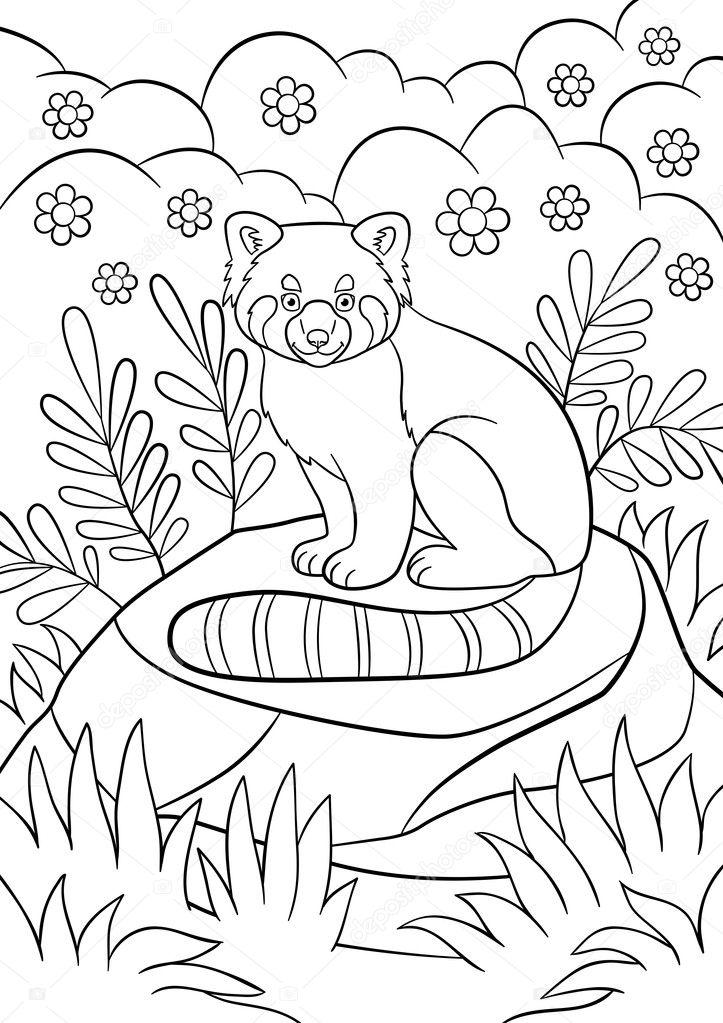 Dibujos para colorear. Pequeñas sonrisas lindo panda rojo — Vector ...