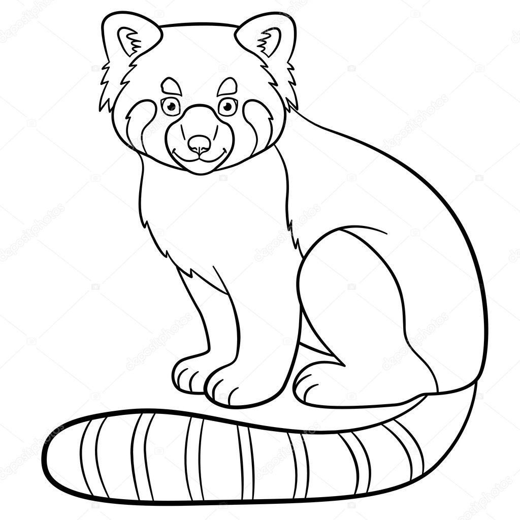 Dibujos para colorear. Pequeñas sonrisas lindo panda rojo — Archivo ...
