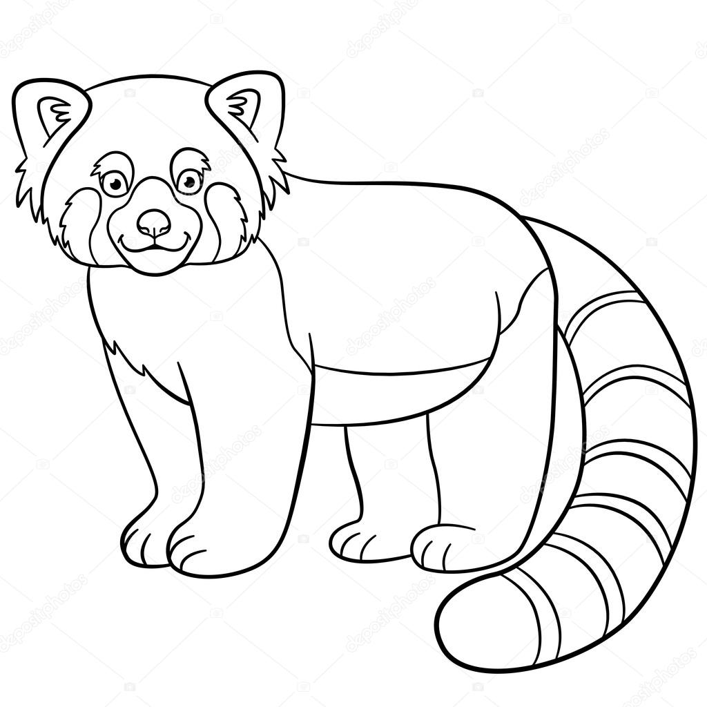 Coloring pages little cute red panda smiles stock vector ya
